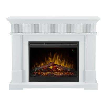 Jean 49.38 in. Freestanding Electric Mantel in White