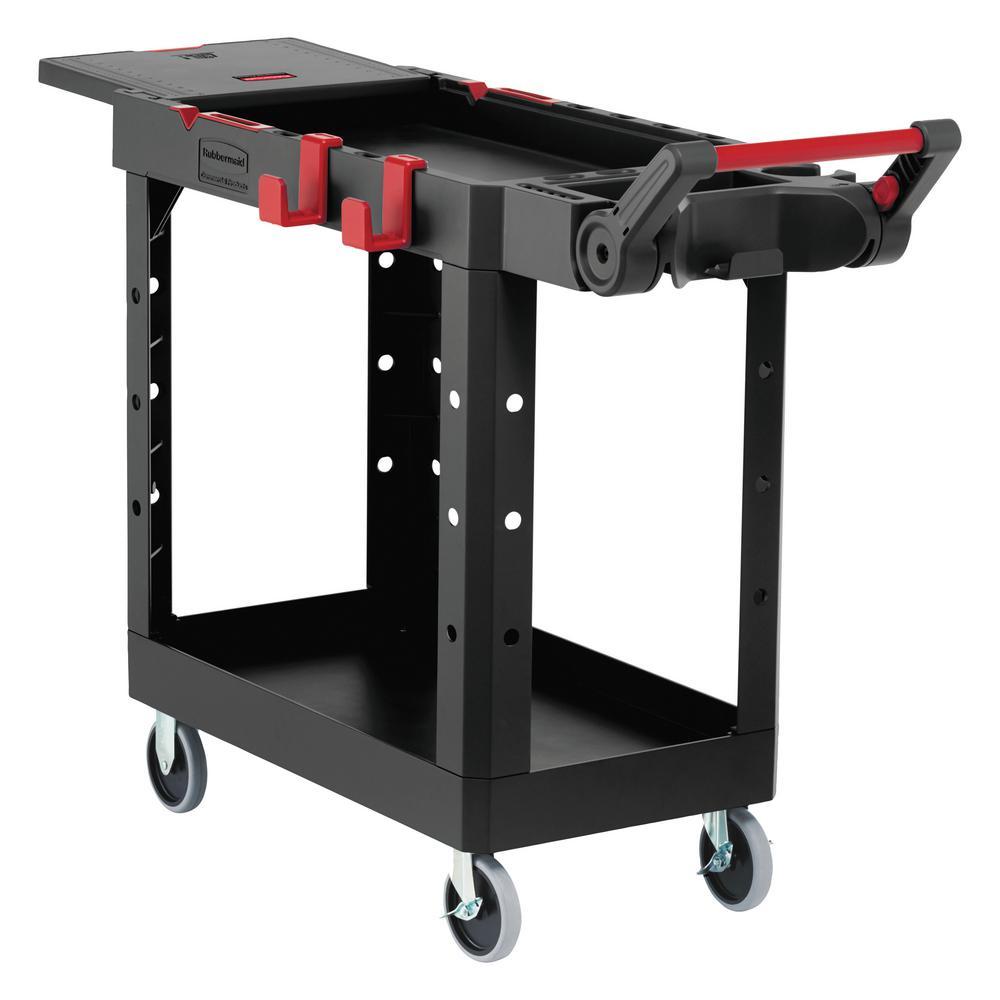 17.8 in. W x 46.2 in. D x 36 in. H 2-Shelves Heavy-Duty Adaptable Utility Cart in Black