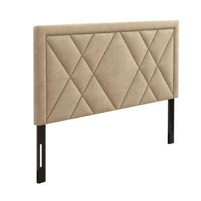 Contemporary Upholstered Tufted Beige Eastern King Nailhead Headboard