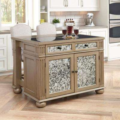 visions silver and gold champagne kitchen island with seating - Kitchen Island Home Depot