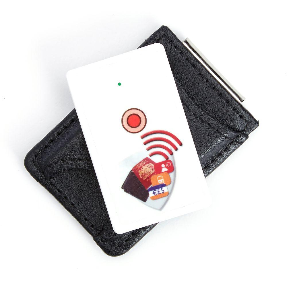 Leather Bluetooth Tracking Wallet Tag Device Inside Slim Genuine Leather Money