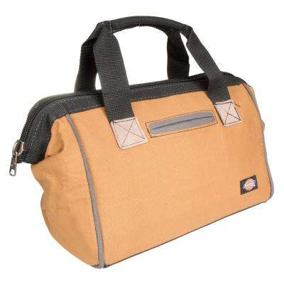 12 in. Soft Sided Construction Work Tool Bag, Grey/Tan