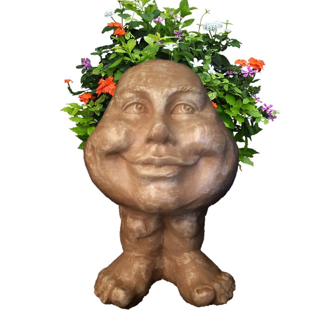 12 in. Stone Wash Daisy the Muggly Statue Face Planter Holds