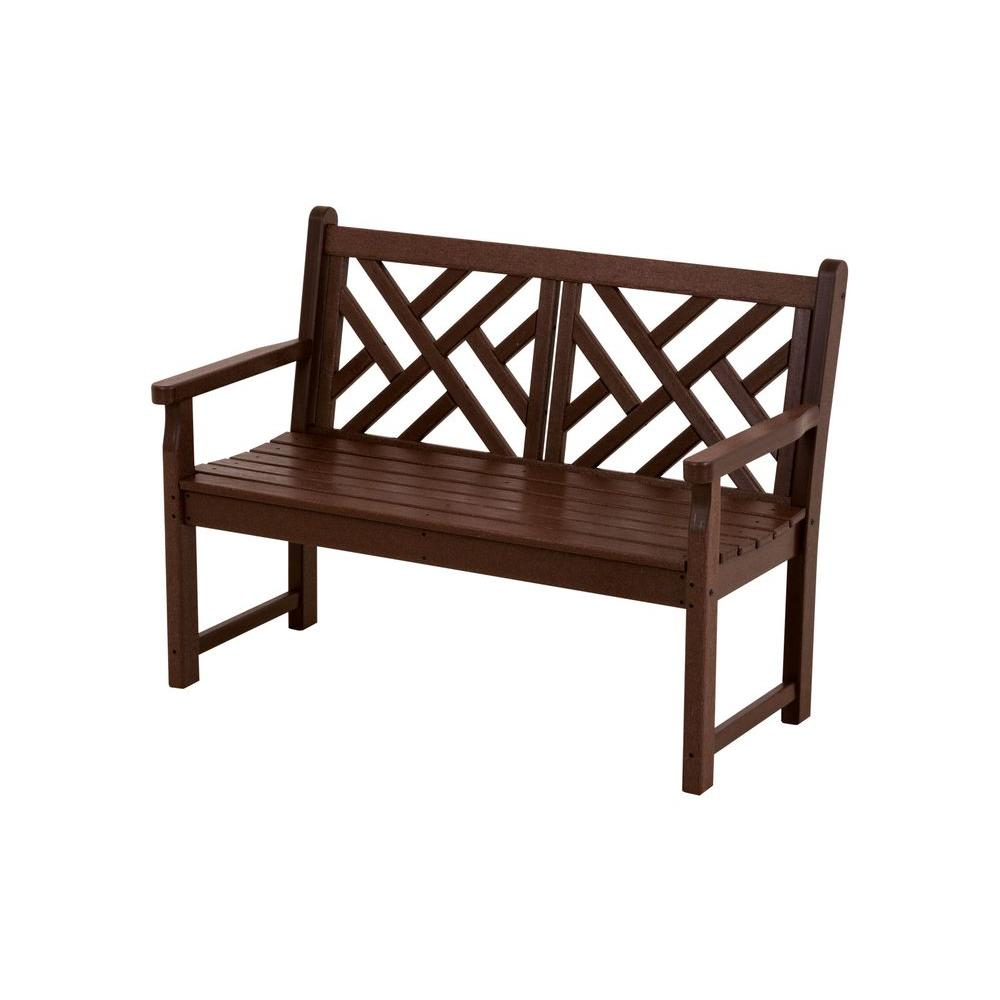 Chippendale 48 In Mahogany Patio Bench