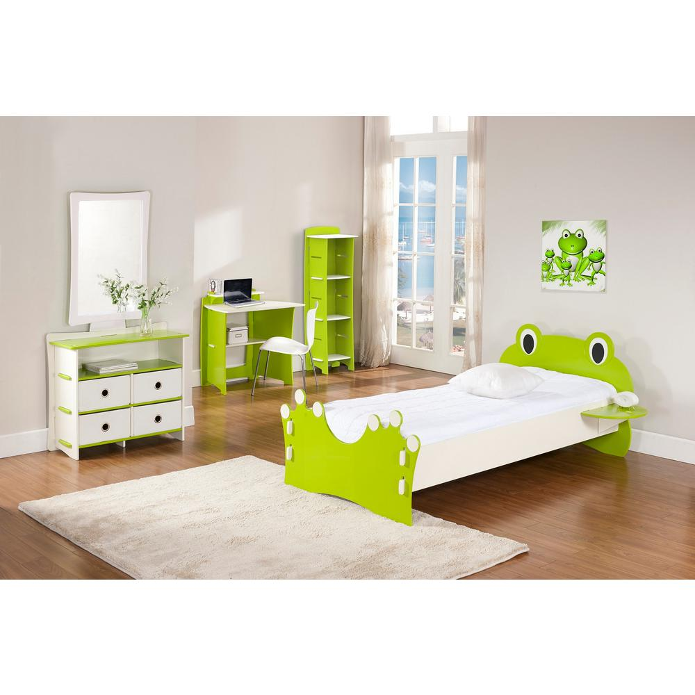 Kid's 3-Shelf Gaming Stand in Frog Collection Lime Green Color