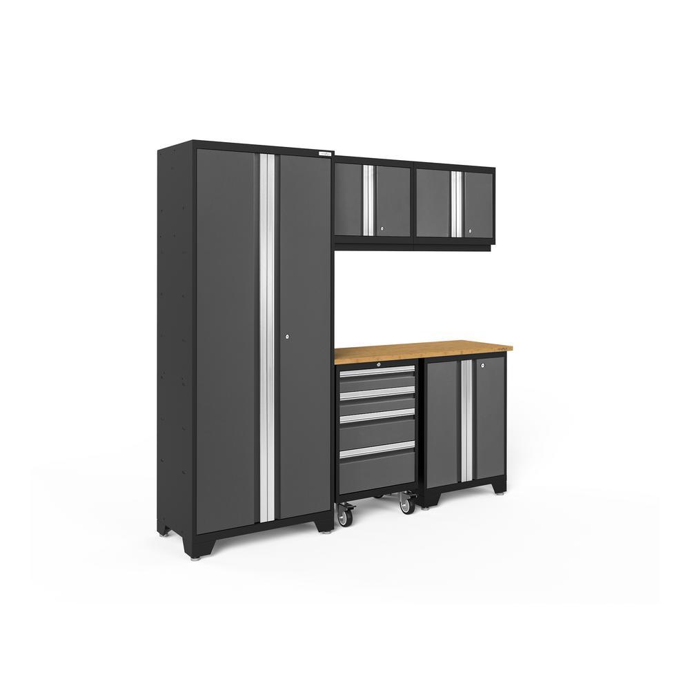 Bold Series 78 in. W x 75.25 in. H x 18 in. D 24-Gauge Welded Steel Cabinet Set in Gray (6-Piece)
