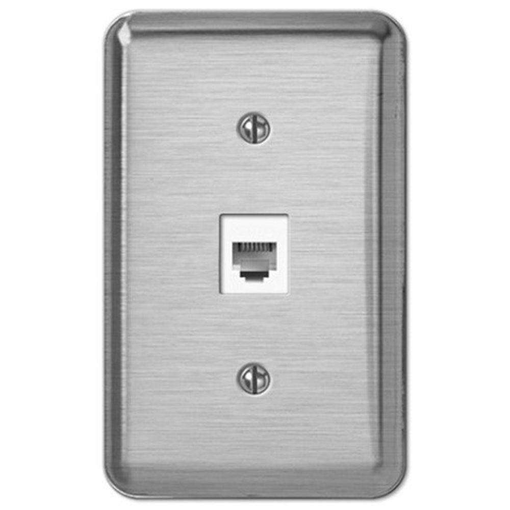 Creative Accents Phone Jack Wall Plate - Brushed Chrome