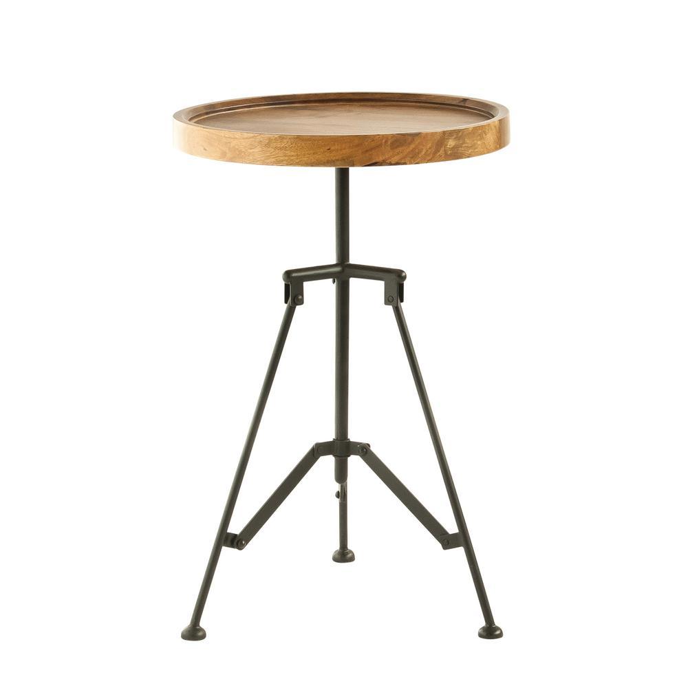 Brown Mango Wood & Metal Side Table