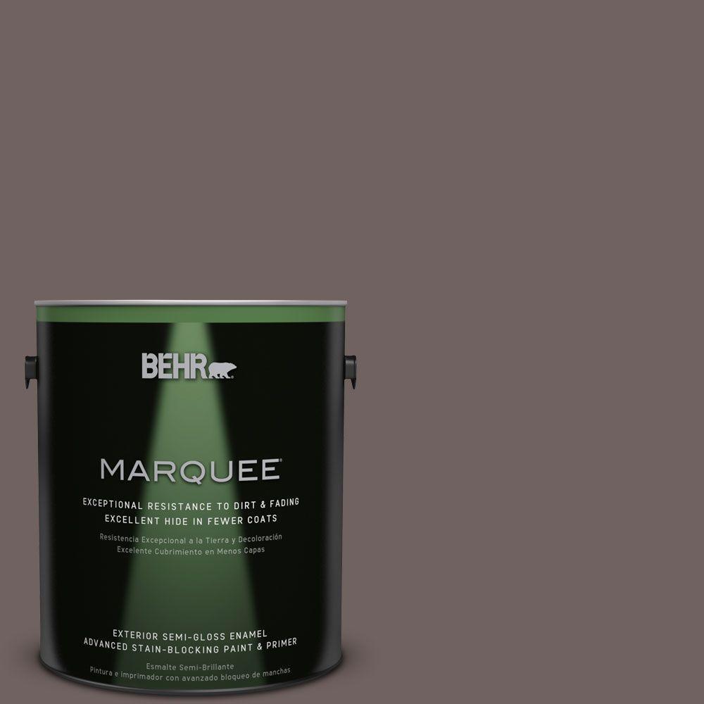 BEHR MARQUEE 1-gal. #N140-6 Wright Brown Semi-Gloss Enamel Exterior Paint