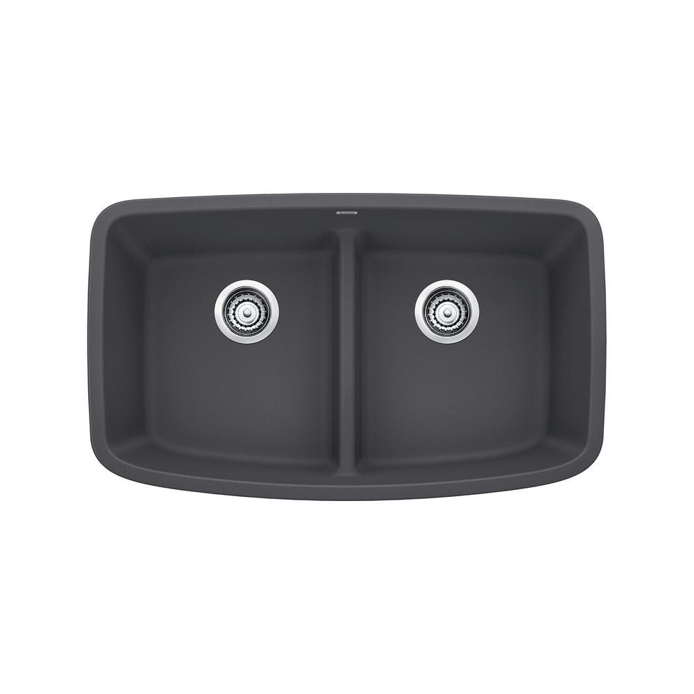 Blanco VALEA Undermount Granite Composite 32 In Equal Double Bowl Kitchen  Sink In Cinder Blanco Cinder Sink O75
