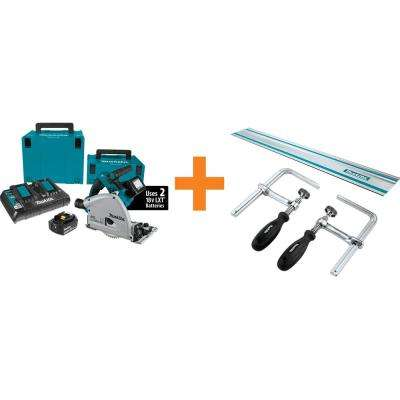 18-Volt X2 LXT (36V) Brushless 6-1/2 in. Plunge Circ Saw Kit (5.0 Ah) w/55 in. Guide Rail and Guide Rail Clamp (2-Pack)