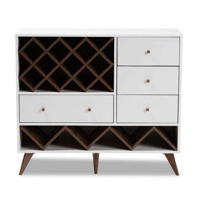 Savino 12-Bottle White and Walnut Brown Wine Cabinet