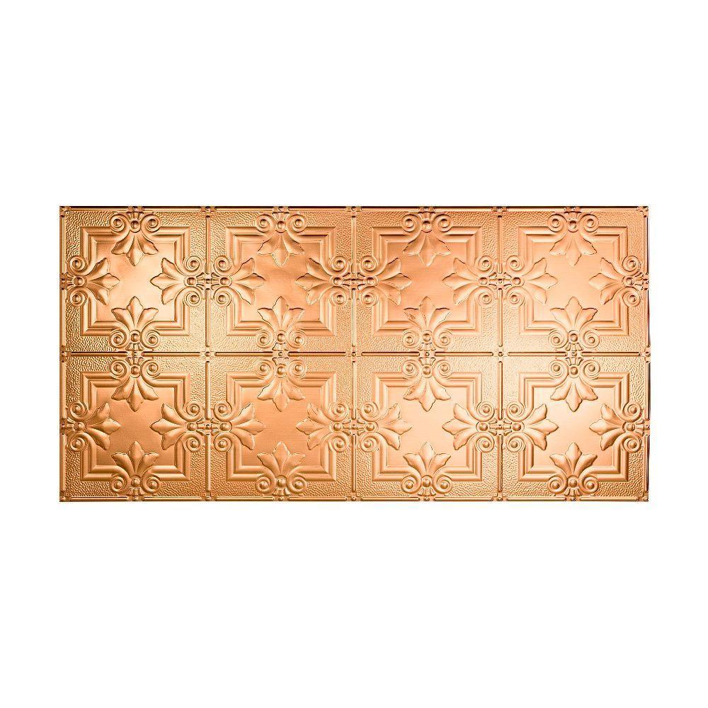 Regalia 2 ft. x 4 ft. Glue-up Ceiling Tile in Polished Copper
