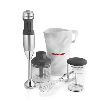 3-Speed Contour Silver Immersion Blender with Whisk and Chopper Attachments