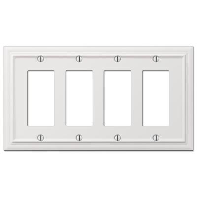 Continental 4 Gang Rocker Metal Wall Plate - White