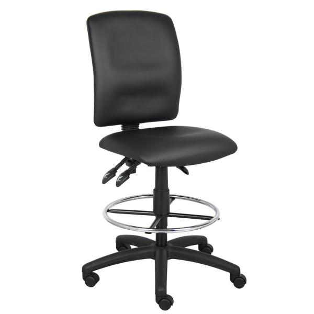 Boss Black Multi-Function Leather Plus Drafting Stool