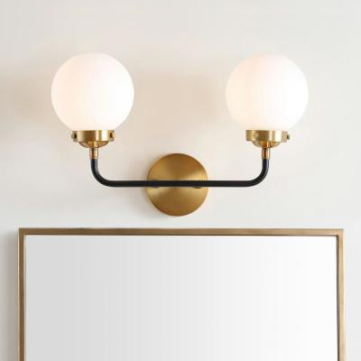 Caleb 2-Light 18 in. Brass Gold/Black Brass Wall Sconce