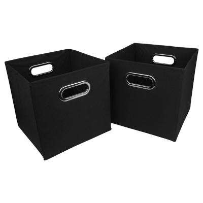 10.5 in. H x 10.5 in. W Black Foldable Fabric Storage Bin (2-Pack)
