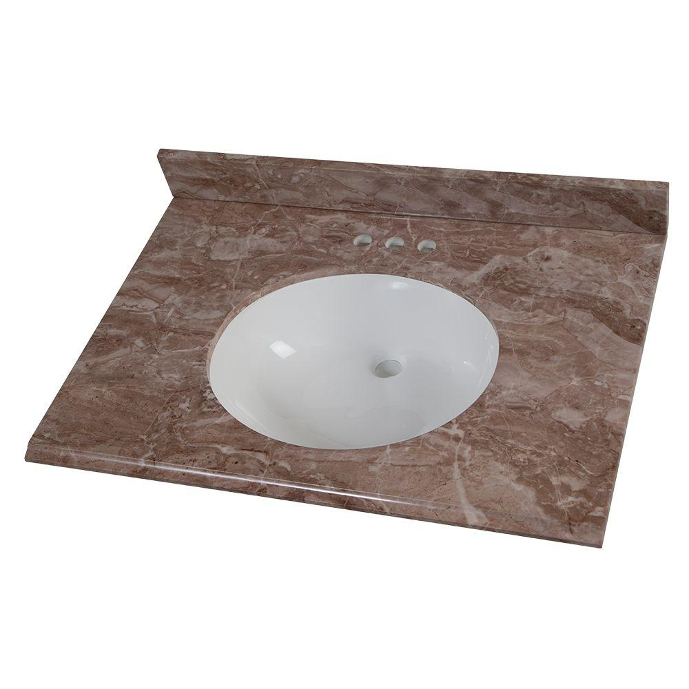 31 in. Stone Effects Vanity Top in Mayan Ivory with White