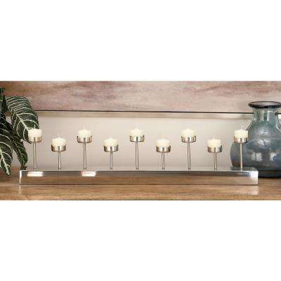 5 in. Silver Stainless Steel 9-Votive Candle Holder