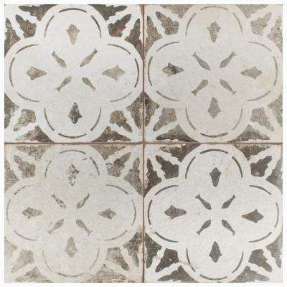 Kings Aurora Encaustic 17-5/8 in. x 17-5/8 in. Nero Ceramic Floor and Wall Tile (11.02 sq. ft. / case)