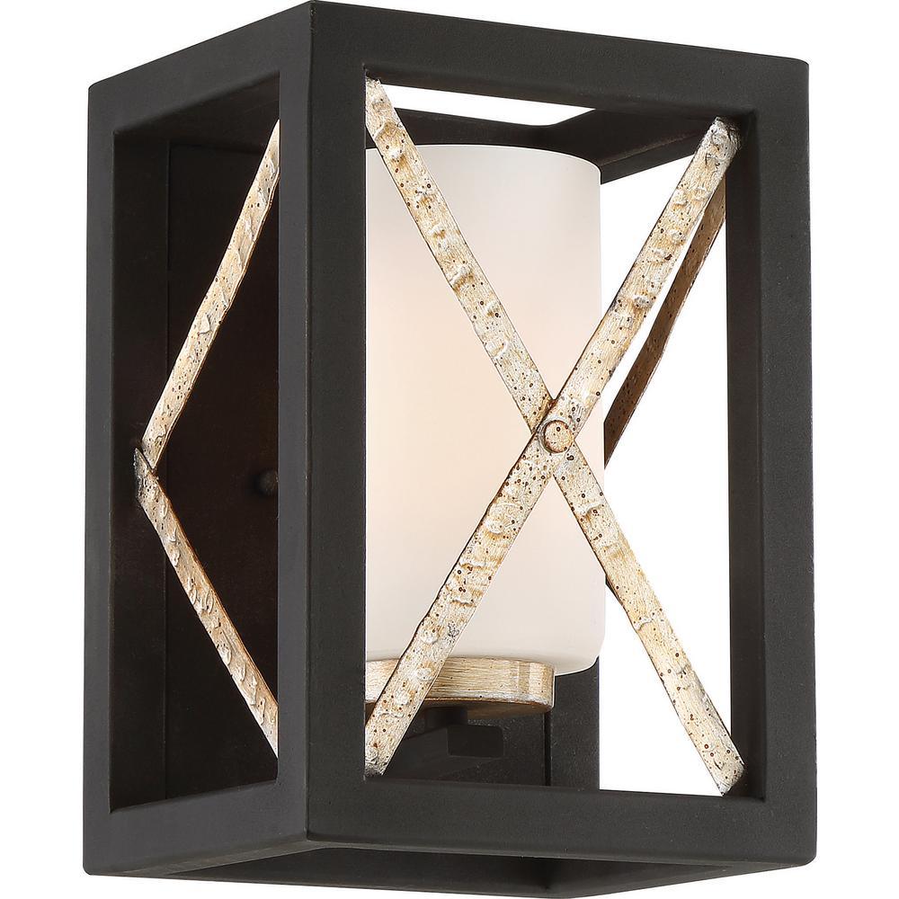 1-Light Matte Black Wall Sconce