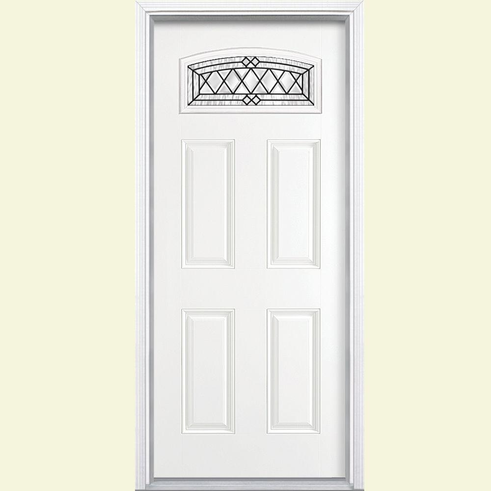 36 in  x 80 Halifax Camber Fan Right Hand Primed White Smooth top Doors With Glass Fiberglass The Home Depot