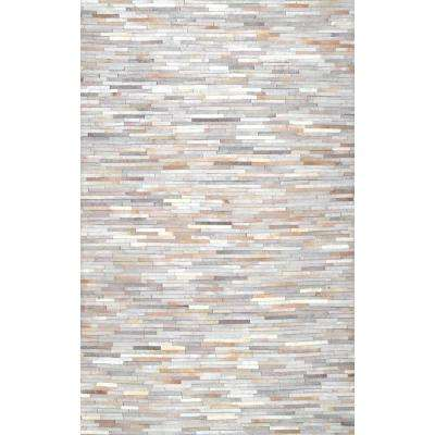 Clarity Patchwork Beige 8 ft. x 10 ft. Area Rug
