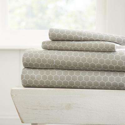 Honeycomb Patterned 4-Piece Gray Queen Performance Bed Sheet Set