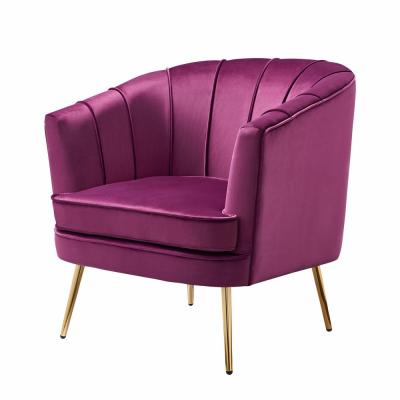 Endel Purple Velvet Accent Chair
