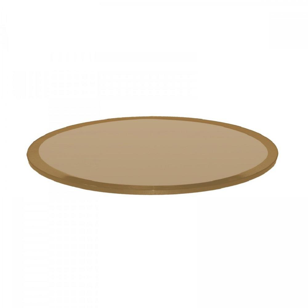 Round 1 2 In Thick Beveled Tempered Glass Bronze Table Top