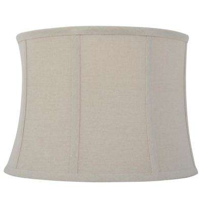 Mix and Match 15 in. Dia x 10.5 in. H Beige Linen Round Table Lamp Shade
