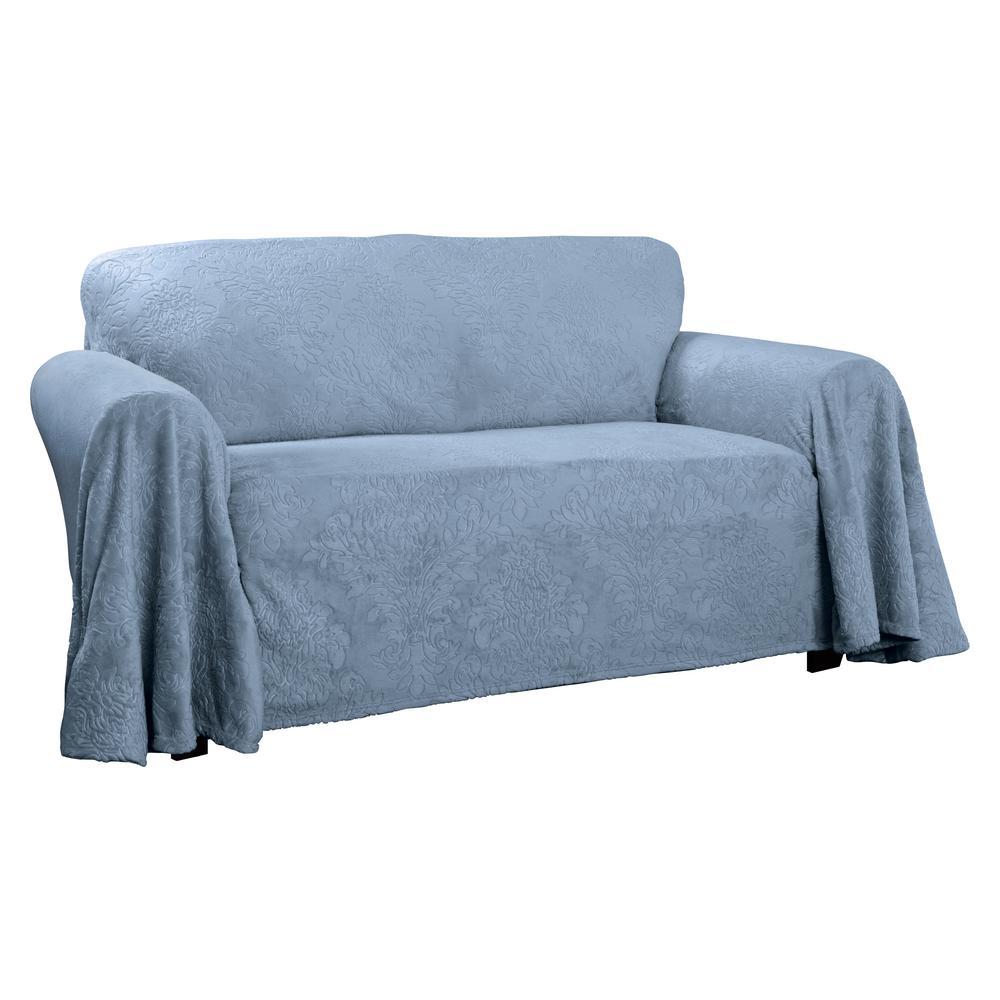 Plush Blue Damask Throw Sofa Slipcover