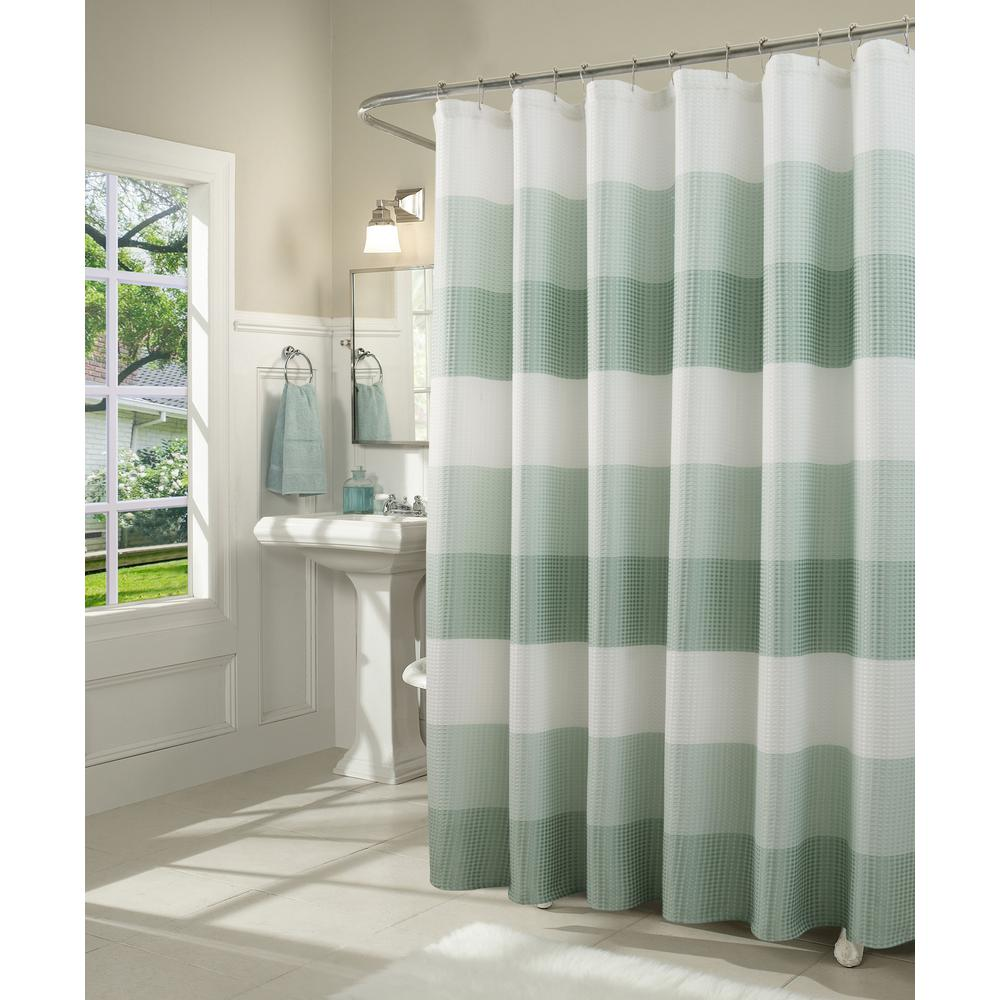 dainty home ombre 72 in spa waffle weave fabric shower curtain omwscspa the home depot. Black Bedroom Furniture Sets. Home Design Ideas