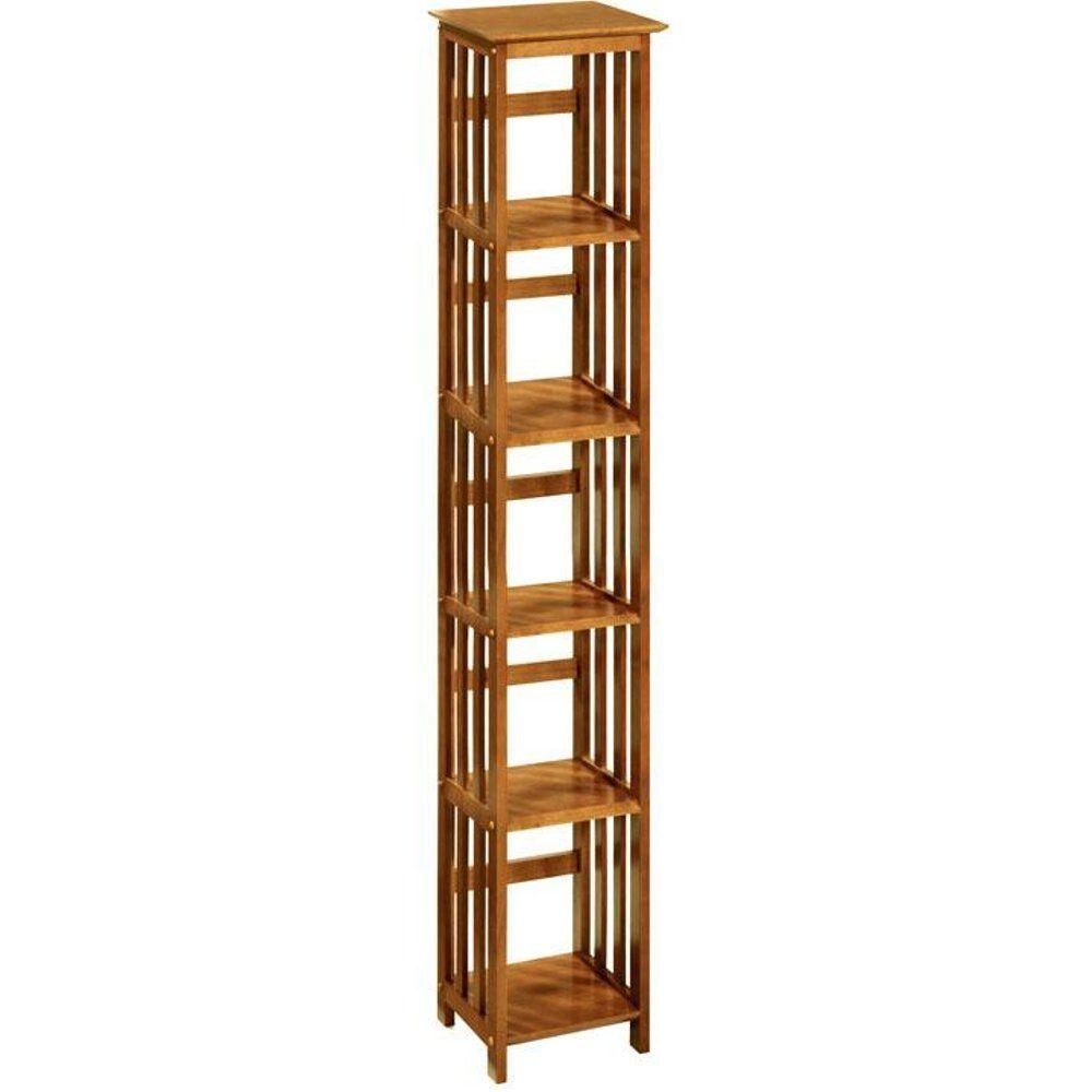 Home Decorators Collection Mission-Style Honey Oak 72 in. H x 14 in. W 5-Shelf Tower