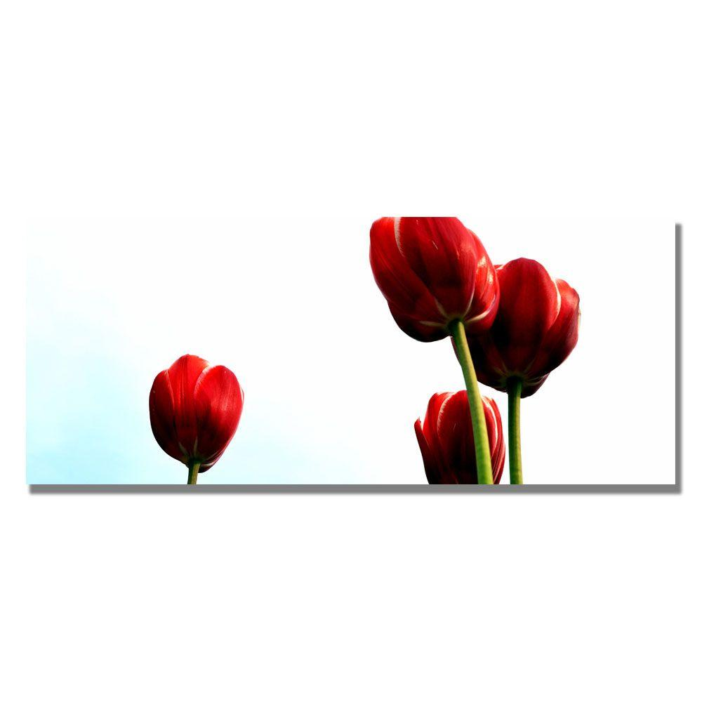 12 in. x 32 in. Four Red Tulips Canvas Art