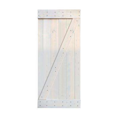 36 in. x 84 in. Z Series. Light Grey Finished Sliding Knotty Pine Wood Interior Barn Door Slab