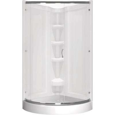 Cerise 39 in. x 72 in. Corner Shower Kit in White