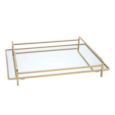 4-Rail Design Mirror Vanity Tray in Gold