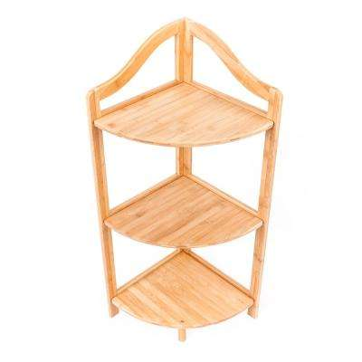 33 in. H x 12 in. W x 12 in. D 3-layer Moso Bamboo Portable Practical Sundry Storage Rack Corner Rack in Wood Color