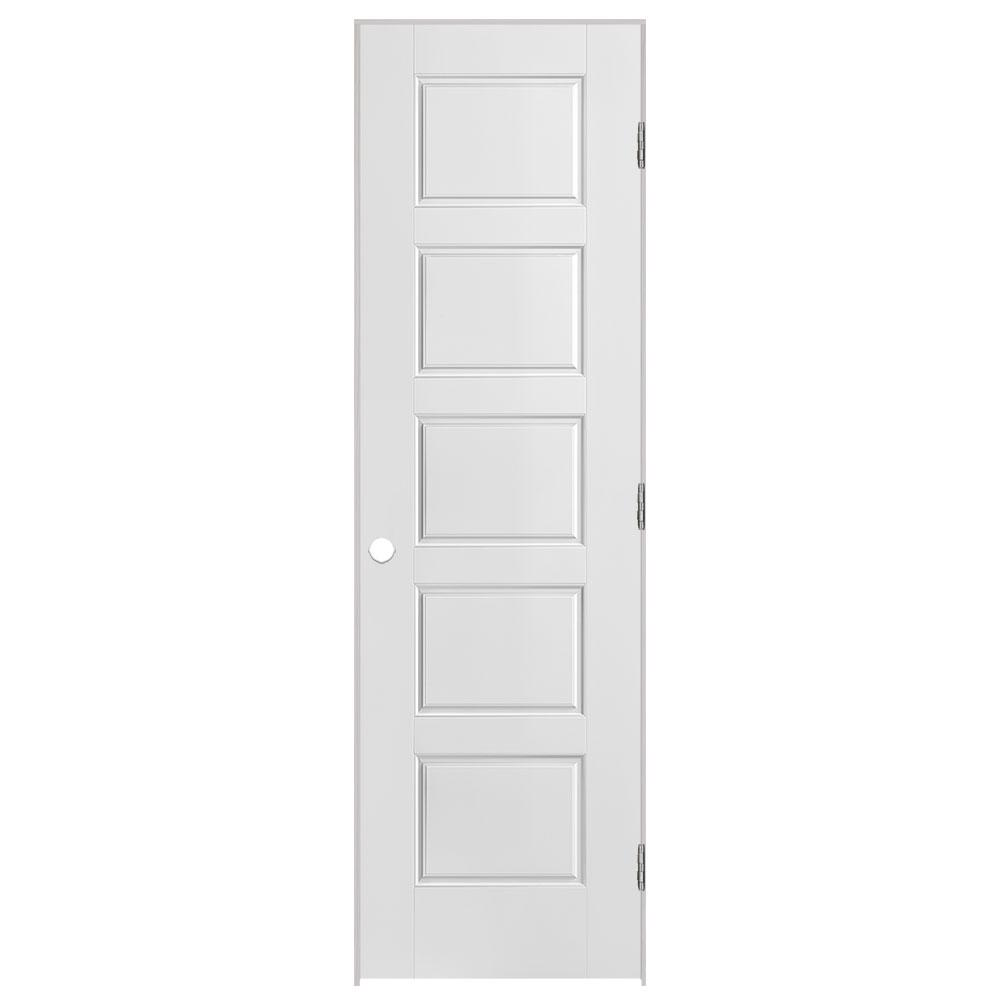 Masonite 24 in. x 80 in. Riverside 5-Panel Left-Handed Hollow-Core Smooth Primed Composite Single Prehung Interior Door