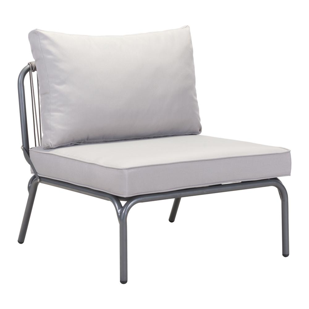 Zuo Pier Wicker Outdoor Patio Lounge Chair With Gray