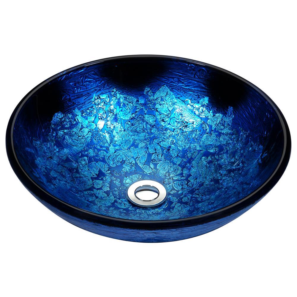 Stellar Series Deco-Glass Vessel Sink in Blue Blaze