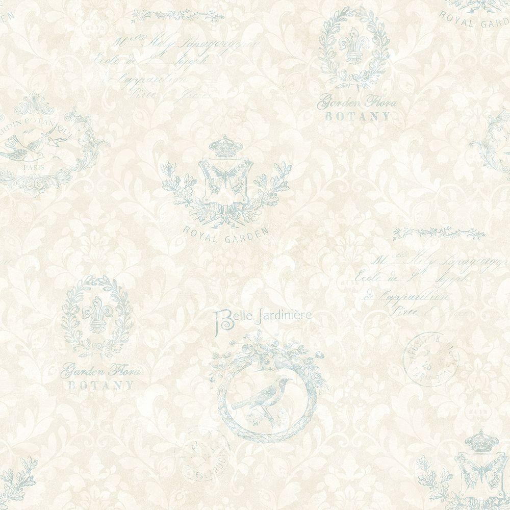 Chesapeake Belle Jardin Sky Block Print Wallpaper Sample CCB02174SAM