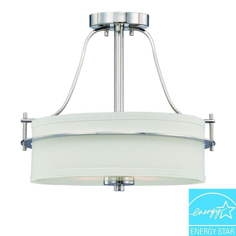 2-Light Polished Nickel Semi-Flush Mount Light with White Linen Shade