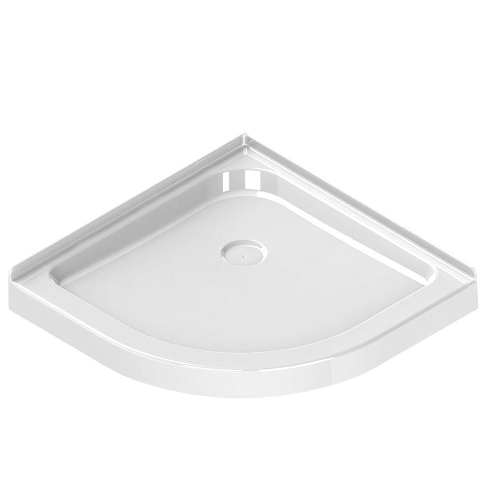 32 in. x 32 in. Single Threshold Neo-Round Shower Base in White