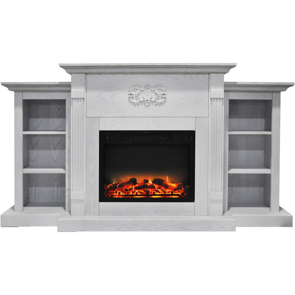 Classic 72 in. Electric Fireplace in White with Built-in Bookshelves and
