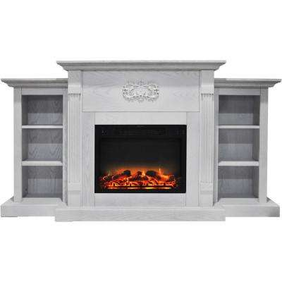 Classic 72 in. Electric Fireplace in White with Built-in Bookshelves and an Enhanced Log Display