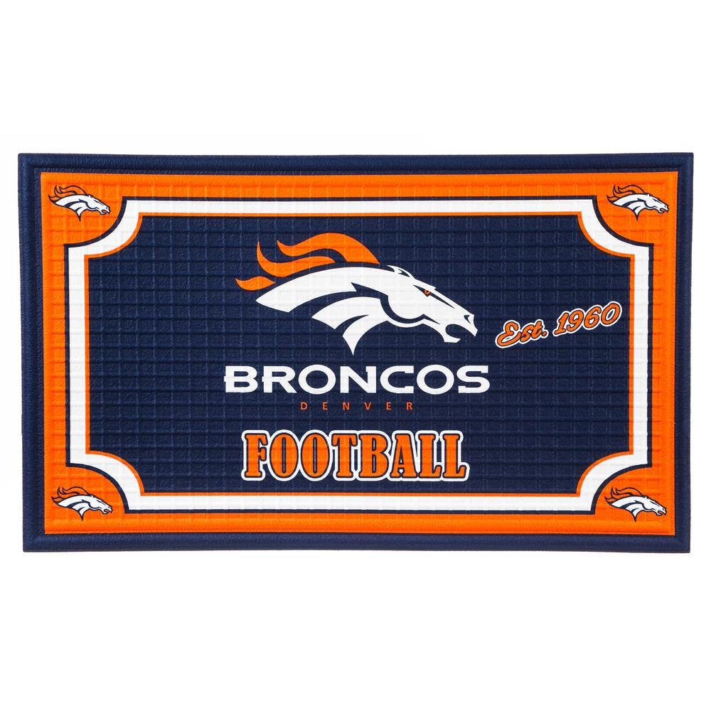 Evergreen Denver Broncos 18 In. X 30 In. Embossed Welcome Mat