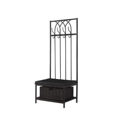 Transitional Black Metal Hall Tree with Storage Bench